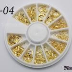 LO-04 โลหะเส้น ทรงต่างๆ สีทอง กล่องกลม 1กล่อง มี6แบบ