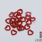 มุกตกแต่งรูปหัวใจ สีแดง (แพ็ค 25 ชิ้น)