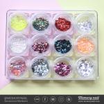กากเพชรติดเล็บ ปั้มนูน คละรูปทรง คละสี 12 เชดสี 12 กระปุก