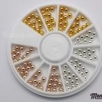 มุกไข่ปลาขนาด 3 มิล สีเงิน ทอง ทองแดง คละ3สี กล่องกลม