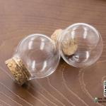 ขวดแก้วจิ๋ว (ฝาจุกไม้ก๊อก) ขนาด 30x32 มม ปากขวด 18 มม (ปากกว้าง)