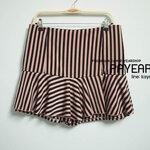 กางเกงกระโปรง ผ้าฮานาโกะ ทรงมิริน ลายริ้ว สีโอวัลติน เอว 34-44 นิ้ว