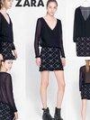 ZARA : DRESS เดรสสีดำ แขนยาว คอวี ทรงสวย ช่วงบนผ้าชีฟองเนื้อละเอียด ช่วงกระโปรงผ้าโพลี   Size : S อก 34'' เอว 28-ยืด สะโพก 36'' ยาว 32''